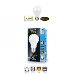 Classic Filament Globe (GLS) Frosted E27 4.5W (40W) 2700K 470lm Non-Dimmable 300 deg Beam Angle