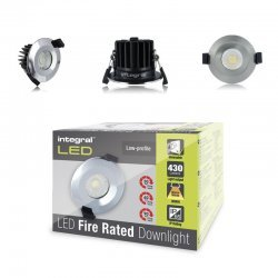 Fire Rated Downlight 6W (40W) 3000K 430lm 38 deg beam angle 70mm-75mm cut-out Dimmable with Chrome Bezel