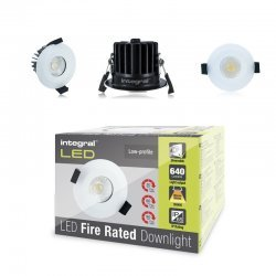 Fire Rated Downlight 8.5W (51W) 3000K 640lm 60 deg beam angle 70mm-75mm cut-out Dimmable