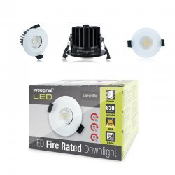 Fire Rated Downlight 10W (61W) 830lm 3000K 60 deg beam angle 70mm-75mm cut-out Dimmable